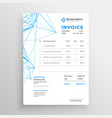 stylish invoice template with blue line mesh vector image vector image