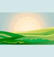 summer green landscape field dawn above hills vector image vector image