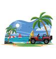 suv car on the beach vector image