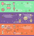 Thin line art street food web banner