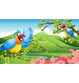 Two colorful parrots in a mountain scenery vector image vector image