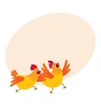 Two funny cartoon orange chickens hens rushing vector image