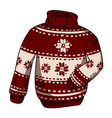 winter red and white knitted hipster sweater vector image