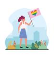 woman with heart rainbow flag to lgtb celebration vector image vector image