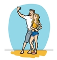 Couple man and woman selfie phone vector image
