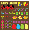 Set of easter eggsanimals and flowers vector image