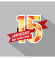 15th Years Anniversary Celebration Design vector image