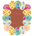 Background with frame of easter eggs vector image