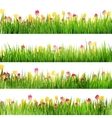 Beautiful easter border with grass and flowers EPS vector image