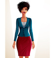 Beautiful mulatto businesswoman full-length vector image vector image