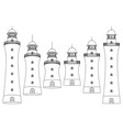 black white outline lighthouse beacon set vector image