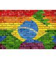 Brick Wall Brazil and Gay flags vector image vector image