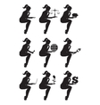 Business lady sitting thinking set of silhouettes vector image vector image