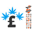 cannabis pound business icon with valentine bonus vector image vector image