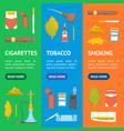 cartoon color smoking tobacco products icon set vector image vector image