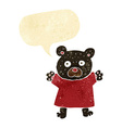 cartoon cute black bear with speech bubble vector image vector image