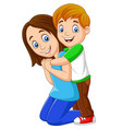 cartoon happy boy hugging his mother vector image vector image