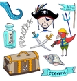 Cartoon pirates set Hand drawn kids collection vector image vector image