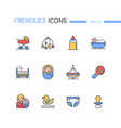 children - modern line design style icons set vector image