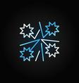 christmas firework blue line icon on dark vector image vector image
