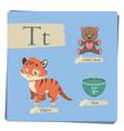 colorful alphabet for kids - letter t vector image