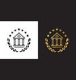 crest logo with abuilding laurel wreath and stars vector image vector image