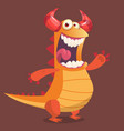 cute cartoon orange dragon monster vector image vector image