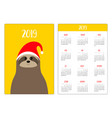 cute sloth animal head face red santa hat simple vector image vector image