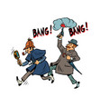 detective holmes and dr watson vector image