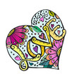 doodle heart with flowers and love inscription vector image