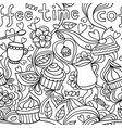 Doodle seamless pattern about coffee or tea time vector image