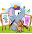 elephant and mouse draw portraits vector image vector image