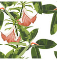 exotic bright ficus elastica and flowers vector image vector image