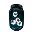 eyeballs in glass jar isolated sticker patch vector image
