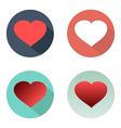Flat set hearts icons with shadow colorful vector image