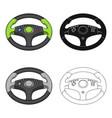 game steering wheel single icon in cartoonblack vector image vector image