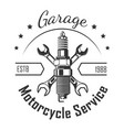 garage motorcycle service round logo with pistons vector image