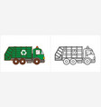 garbage truck coloring page garbagetruck side view vector image vector image