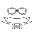 glasses with ribbon and bow tie black and white vector image vector image