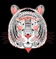 Graphic portrait of ornamental tiger on a black ba vector image