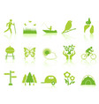 green color garden icons set vector image vector image
