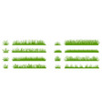 green grass silhouette cartoon lines plants vector image vector image