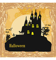 grungy Halloween background with haunted house vector image