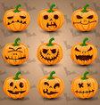 Halloween icon set of Pumpkins vector image vector image