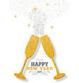 happy new year 2019 party toast gold glitter card vector image vector image