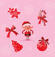 helper santa claus with set icons vector image