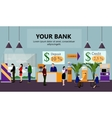 Horizontal banner with bank interiors vector image vector image