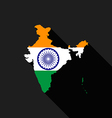 India flag map flat design vector image vector image