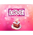 inscription love cut on a pink background with vector image vector image