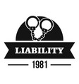 liability logo simple black style vector image vector image